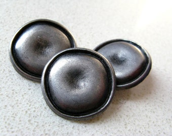 Metal Buttons - Caved Round Metal Buttons , Nickel Silver Color , Shank , 0.79 inch , 10 pcs