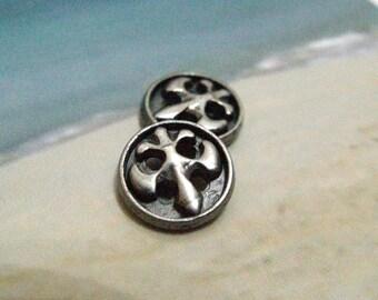 Metal Buttons - Fleur-De-Lis Metal Buttons , Gunmetal Color , 4 Holes , 0.31 inch , 6 pcs