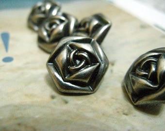 Metal Buttons - Rose Metal Buttons , Gunmetal Color , Shank , 0.59 inch , 10 pcs
