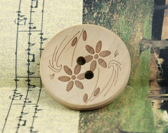 Wooden Buttons - Japanese Style Concave Wood buttons with Apricot Color Tawny-Day-Lily pattern. 0.79 inch. 10 pieces in a set.