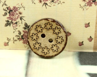Wooden Buttons with Floret Wreath Carving,Antique feeling,  1 inch, 10 pieces in a set.