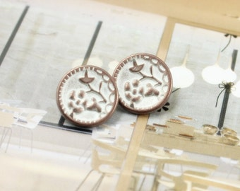 Metal Buttons - Plum Flower Metal Buttons , Copper White Color , Shank , 0.47 inch , 10 pcs