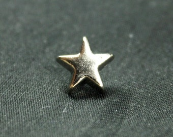 Star Metal Buttons , Shiny Silver Color , Shank , 0.51 inch , 10 pcs