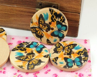 Wooden Buttons With Flying Butterflies Picture  1.18 inch. 6 in a set