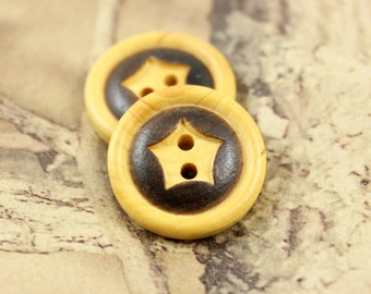 Wooden Buttons - Natural Wood Buttons With Intaglio Curved Star Pattern. 0.79 inch, 6 pcs.