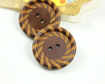 Wooden Buttons - Beautiful Spiral Pattern Border Cascading Recessed Center Wooden Buttons, 1.10 inch (6 in a set)