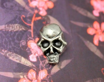 Metal Buttons - Funky Skull Metal Buttons , Nickel Silver Color , Shank , 0.87 inch , 6 pcs