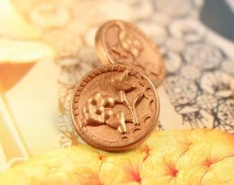 Metal Buttons - Plum Flower Metal Buttons , Golden Brass Color , Shank , 0.51 inch , 10 pcs