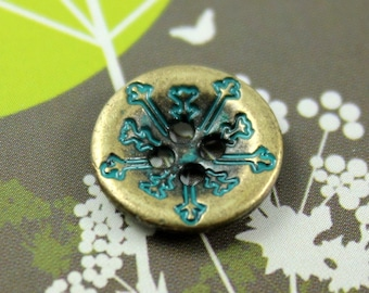 Metal Buttons - Cyan Snowflakes Metal Buttons , Antique Brass Color , 2 Holes , 0.51 inch , 10 pcs