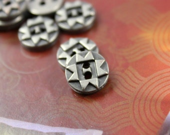 Metal Buttons - ZIG-ZAG Pattern Metal Buttons , Nickel Silver Color , 2 Holes , 0.39 inch , 10 pcs