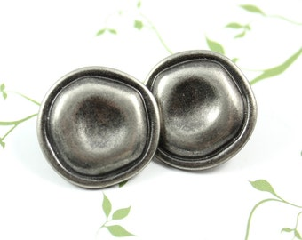 Metal Buttons - Caved Round Metal Buttons , Nickel Silver Color , Shank , 0.71 inch , 10 pcs