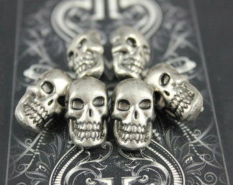 Metal Buttons - Skull Metal Buttons , Nickel Silver Color , Shank , 0.71 inch , 6 pcs