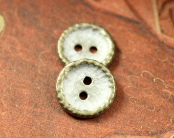 Metal Buttons - Hammered Surface Metal Buttons , Brass Patina Color , 2 Holes , 0.59 inch , 10 pcs