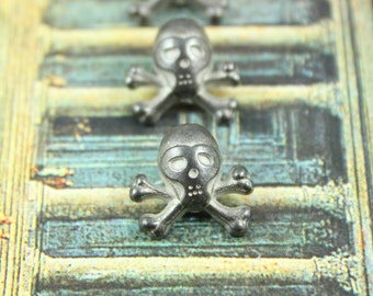 Metal Buttons - Hockey Mask Skull Metal Buttons , Gunmetal Color , Shank , 0.55 inch , 6 pcs