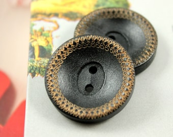 Wooden Buttons - Beautiful Intertwined Pattern Edge Recessed Center Black Wooden Buttons, 1 inch (8 in a set)