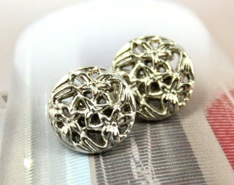Metal Buttons - Bouquet Metal Buttons , Shiny Silver Color , Openwork , Shank , 0.43 inch , 10 pcs