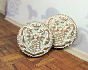 Metal Buttons - Union Emblem Metal Buttons , Copper White Patina Color , Shank , 0.79 inch , 10 pcs