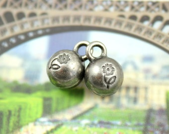 Metal Buttons - Flower Carving Ball Metal Buttons , Nickel Silver Color , Shank , 0.31 inch , 10 pcs