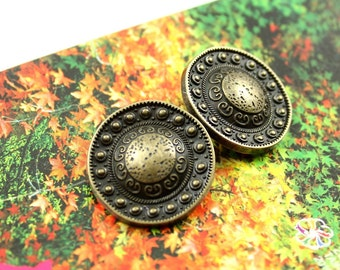 Metal Buttons - Beads Domed Metal Buttons , Antique Brass Color , Shank , 0.91 inch , 6 pcs