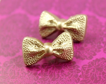 Bowknot Buttons - Light Gold Bowknot Plastic Shank Buttons. 0.79 inch.