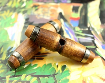 Dumbbell Shaped Toggles - Large Brown Dumbbell Shaped Nature Wood Toggles,With Gunmetal Banding  2.3 inch (6 in a set)