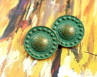Metal Buttons - Beads Domed Metal Buttons , Cyan Brass Color , Shank , 0.91 inch , 10 pcs