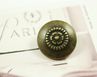 Metal Buttons - Beads Flower Metal Buttons , Antique Brass Color , Shank , 0.79 inch , 10 pcs