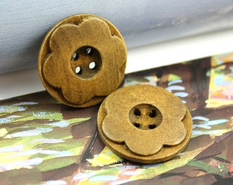 Wooden Buttons - Light Borwn Color Lovely Emboss Flower Wooden Buttons, 1 inch (10 in a set)