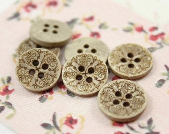 Wooden Buttons - Set 10 Mandala Pattern Small Wood Buttons.  0.51 inch