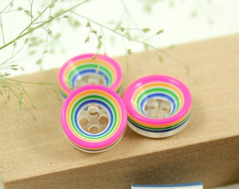 Rainbow Plastic Buttons - Colorful Fringe Recessed Center Buttons.Fluorescence Pink Edge. 0.43 inch. 10 pcs