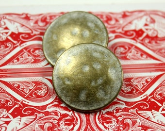 Metal Buttons - Brass Patina Metal Buttons , Shank , 1 inch , 10 pcs