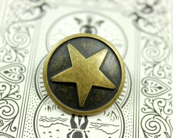 Metal Buttons - Star Metal Buttons , Antique Brass Color , Shank , 0.71 inch , 6 pcs