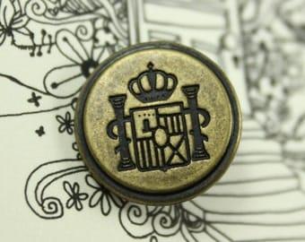 Metal Buttons - Crown Flag Emblem Metal Buttons , Antique Brass Color , Shank , 0.79 inch , 10 pcs