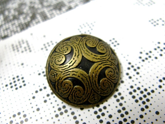 Metal Buttons - Scrolls Pattern Metal Buttons , Antique Brass Color , Shank , 0.91 inch , 10 pcs