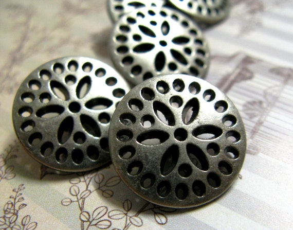 Metal Buttons - Dotted Flower Metal Buttons , Nickel Silver Color , Shank , 0.71 inch , 10 pcs