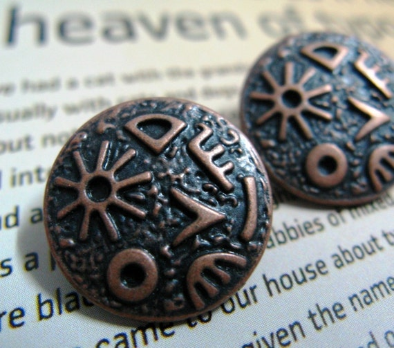 Copper Antiqued Egyptian Hieroglyphs Ornate Buttons.0.67 inch, 10 pcs