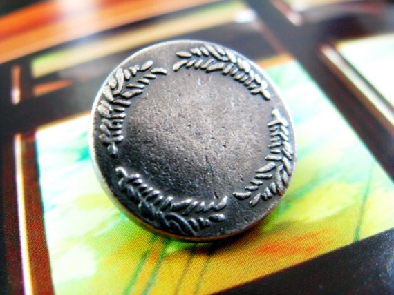 Metal Buttons - Wreath Metal Buttons , Gunmetal Color , Shank , 0.71 inch , 10 pcs