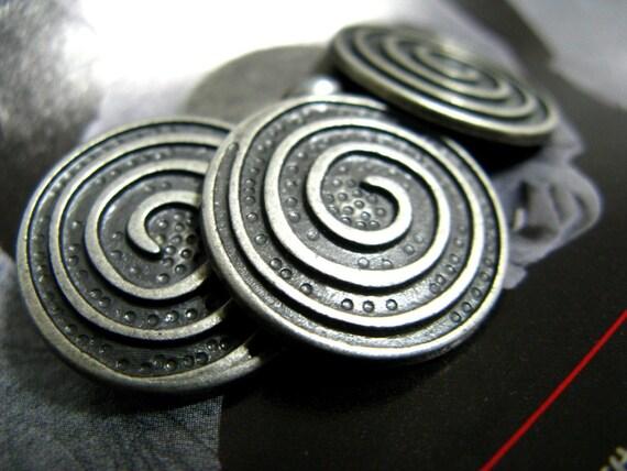 Metal Buttons - Spiral Metal Buttons , Gunmetal Color , Shank , 0.79 inch , 10 pcs