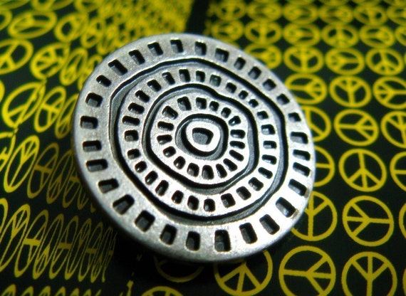 Special Metal Buttons - Unique Gunmetal Coin Style Buttons,With Cute Circles Intaglio Pattern.1 inch. 10 in a set
