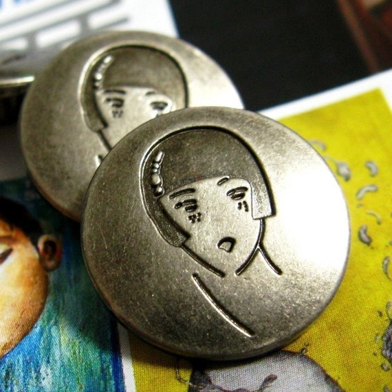 Metal Buttons - Girl Face Metal Buttons , Nickel Silver Color , Shank , 0.79 inch , 10 pcs