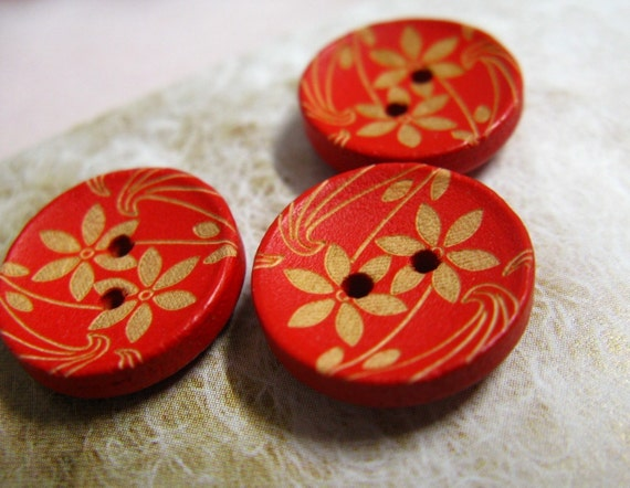Red Wooden Buttons - Japanese Style Red Concave Wooden buttons with Apricot Color Tawny-Day-Lily pattern. 0.59 inch. 10 pcs