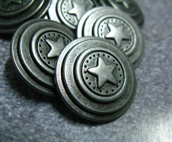 Solid Multi Tiered Star Emblem Gunmetal Buttons,10 units, 0.79 inch