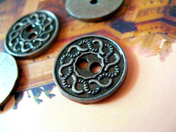 10 pieces of Scrollwork Decorative Border Gunmetal Buttons. 0.59 inch