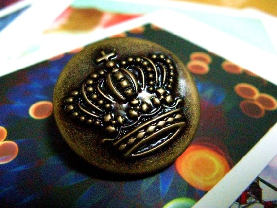 Metal Buttons - Crown Metal Buttons , Antique Brass Color , Shank , 1 inch , 10 pcs
