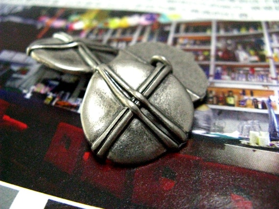 Metal Buttons - Looped Stone Metal Buttons , Nickel Silver Color , Shank , 0.71 inch , 10 pcs