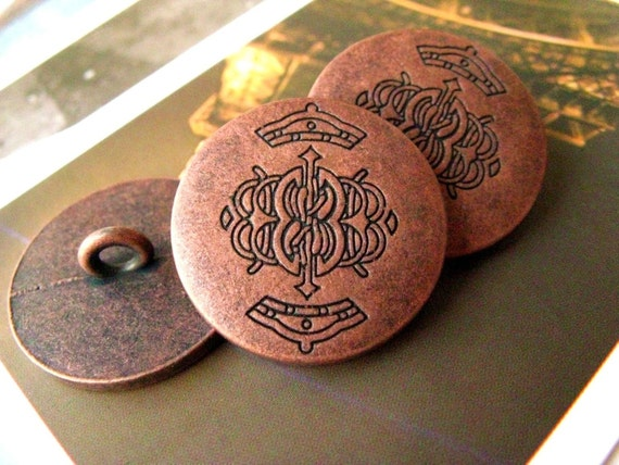Special Metal Buttons - Campus Style Antique Fancy Emblem Pattern Red Copper Buttons. 0.79 inch. 10 in a set