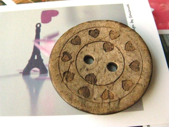 Heart Wooden Buttons -  Antique Yellowing Heart Circles Carving Wood Buttons, 8 pieces in a set, 1.5 inch