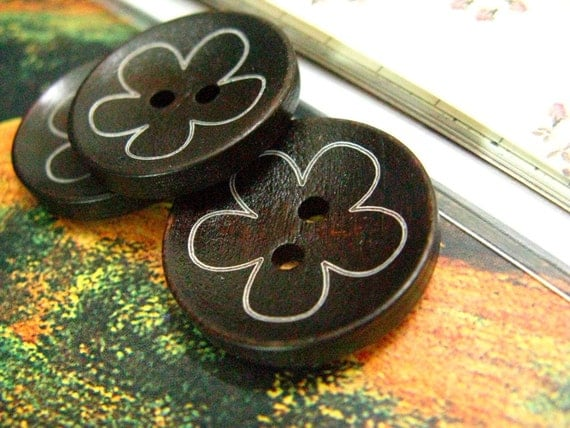 Concave Brown Wooden Buttons, Printed Lovely Khaki 5 Petals Flower. 0.87 inch (10 in a set)