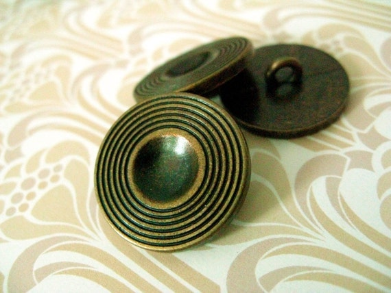Metal Buttons -  Concave Hemisphere Center Circular Texture Border Copper Buttons.0.79 inch. 10 in a set
