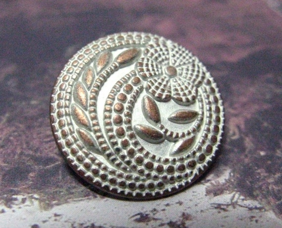 Flower Metal Buttons - Set 10 Light Copper Carved Floret Thin White Silver Buttons,Gardens Feeling. 0.59 inch.